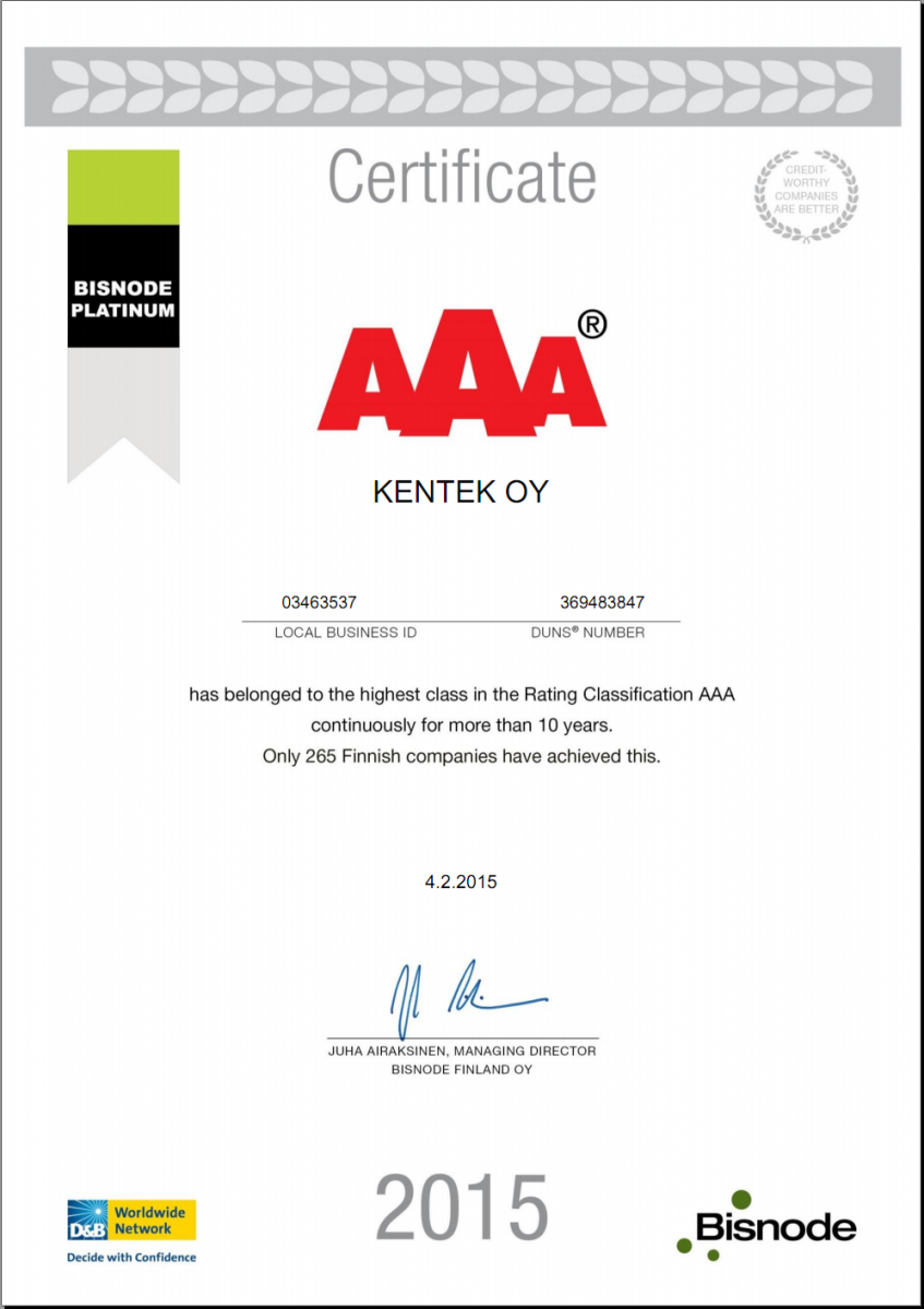 Сертификат, подтверждающий наивысший уровень кредитоспособности «AAA»